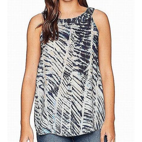 Nic + Zoe White Blue Womens Size Medium M Printed Sheer Cami Top