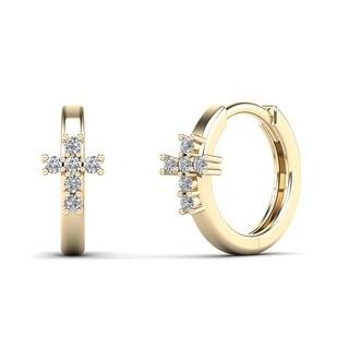 AALILLY 14K Yellow Gold 1/8ct TDW Diamond Petite Cross Hoop Earrings (H-I, I1-I2)