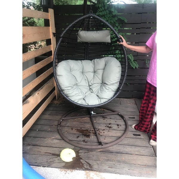 Shop Layla Outdoor Wicker Hanging Basket Chair With Cushions By