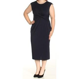 Womens Navy Cap Sleeve Tea-Length Sheath Casual Dress Size: 16