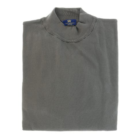 Cotton-Modal Blend Mock Neck Big Mens Taupe Sweater by Real Cashmere