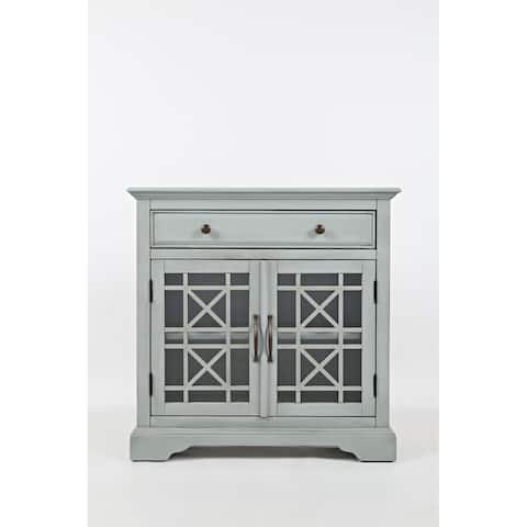 Craftsman Series 32 Inch Wooden Accent Cabinet with Fretwork Glass Front, Earl Grey