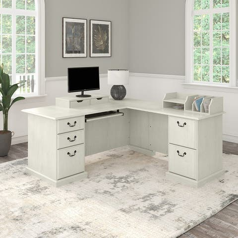 Saratoga L Shaped Desk with Drawers and Organizers by Bush Furniture