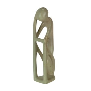 Hand Carved Natural Stone Abstract Thinker Sculpture - 11.5 X 3.25 X 3.25 inches