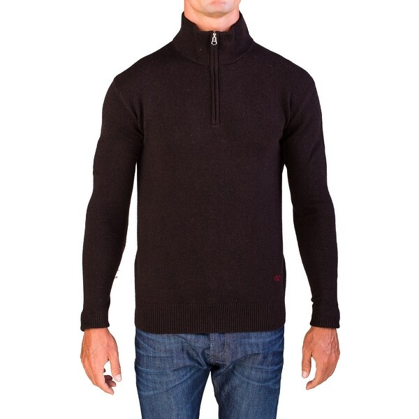Valentino Men's Zip Neck Sweater Dark Brown