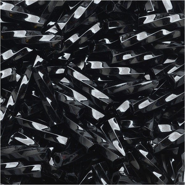 Toho Glass, Twisted Bugle Beads Size 3 9x2mm, 10 Grams, Opaque Jet