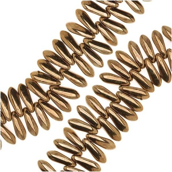 Czech Pressed Glass 3 x 10mm Dagger Beads - Bronze (50)
