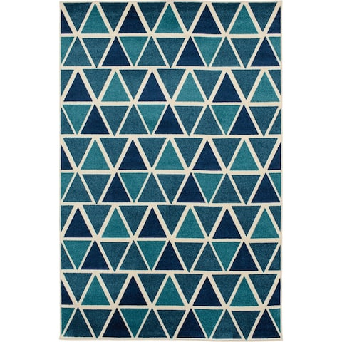 Tecopa Triangle Blue and White Indoor Outdoor Woven Area Rug