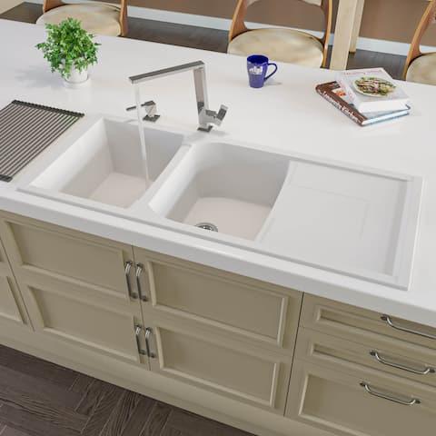 """Alfi Brand AB4620DI-W White 46"""" Double Bowl Granite Composite Kitchen Sink with Drainboard"""