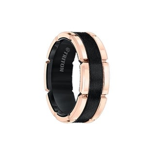 KEVIN Black Tungsten Carbide Flat Comfort Fit Band W/Brush Center &Rose Rims by Triton Rings - 8mm