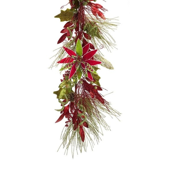 """Pack of 2 Blossoming Spring and Summer Long Pine Needle Garland with Poinsettia 68"""" - Unlit"""