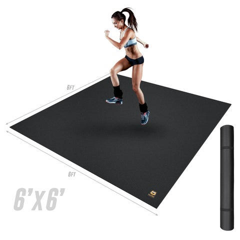Ultra Fitness Gear Extra Thick 6ftx6ft Exercise Mat Anti-Microbial Fitness Mat For Yoga, Weight Training & Stretching