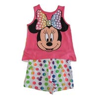 Disney Little Girls Pink White Minnie Mouse Sleeveless 2 Pcs Outfit Set