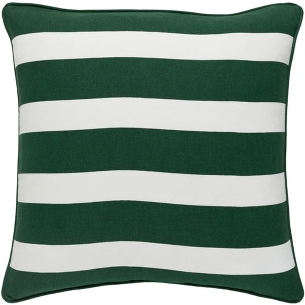 """18"""" Snow White and Forest Green Peppermint Strip Decorative Holiday Throw Pillow"""