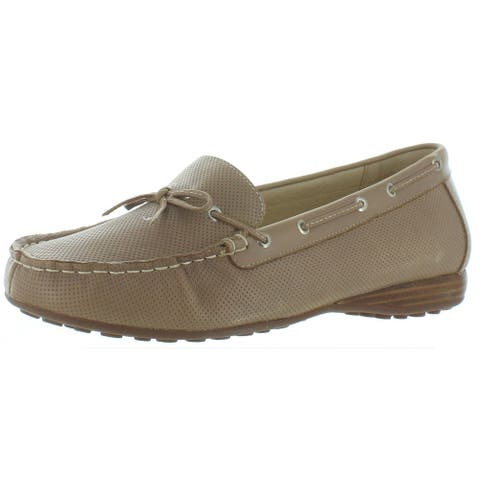 David Tate Womens Splendid Moccasins Leather Slip On - Taupe - 10 Wide (C,D,W)