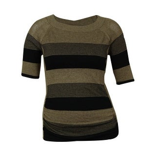 ONE A Women's Knit Mesh and Stripe Design Sweater