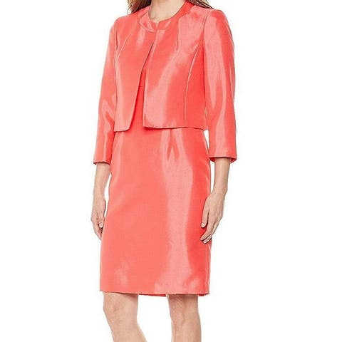 Le Suit Womens Dress Suit Coral Pink Size 14 Collarless Blazer Sheath