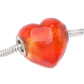 Glass Silver Foil Lampwork Red Heart European Style Large Hole Bead - 20mm (1)