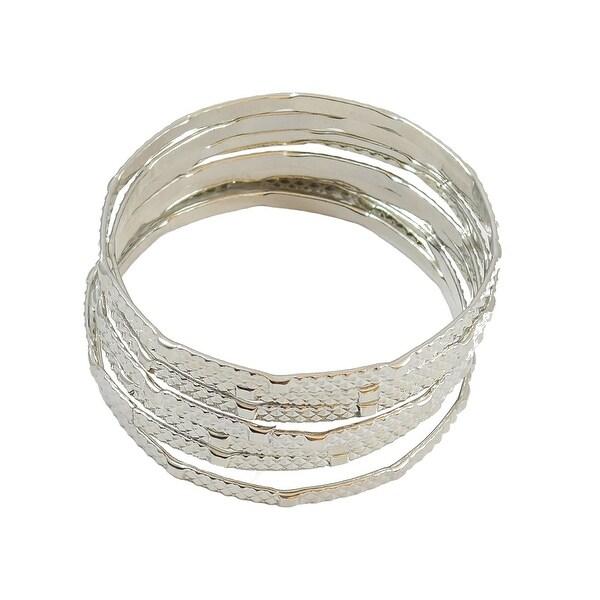 Multi Bangle Bracelet 7-Piece Set, Silver
