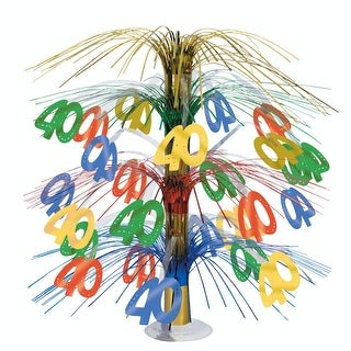 """Pack of 6 Multi-Colored Happy """"40th"""" Birthday Party Cascading Table Centerpieces 18"""" - Multi"""