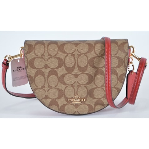Coach C1430 Signature Canvas ELLEN Beige Red Crossbody Purse Bag
