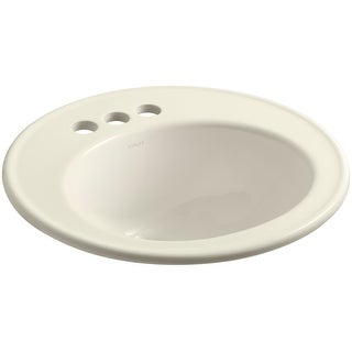 "Kohler K-2202-4  Brookline 19"" Drop In Bathroom Sink with 3 Holes Drilled and Overflow"