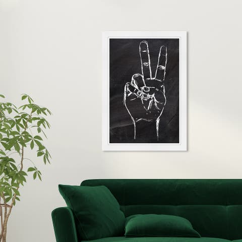 Wynwood Studio 'Peace Out' Symbols and Objects Black Wall Art Framed Print