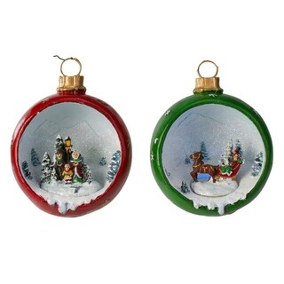 """Link to Set of 2 LED Lighted Winter Scene Christmas Ornament Decorations 5.75"""" Similar Items in Christmas Decorations"""