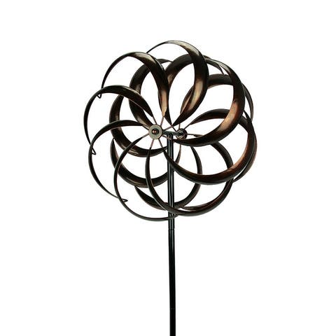 Aged Copper Finish Garden Twirler Kinetic Wind Spinner Stake - 70.5 X 19 X 10 inches