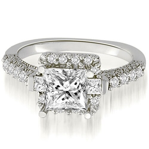 1.50 cttw. 14K White Gold Halo Princess And Round Diamond Engagement Ring