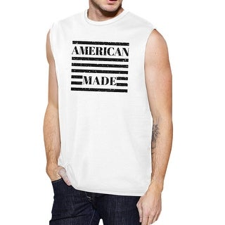 American Made Mens Cotton Muscle Tee 4th Of July Design Graphic Top
