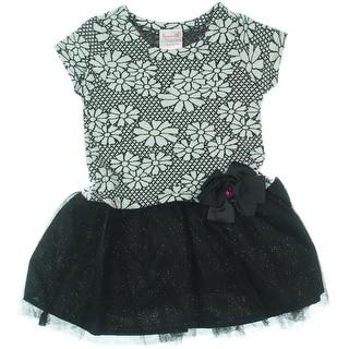 Nannette Girl Floral Print Short Sleeve Casual Dress - 2T