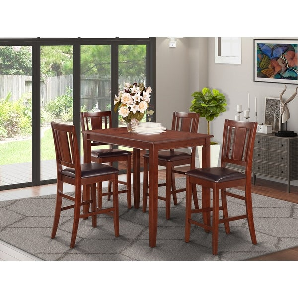 Mahogany Counter Height Table and 4 Stools Dining Set. Opens flyout.