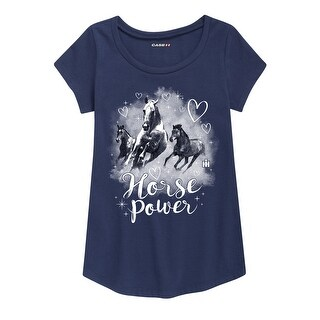Horse Power - Youth Girl Short Sleeve Curved Hem Tee