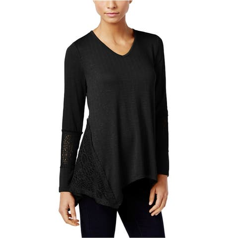 Style&Co. Womens Lace-Panel Basic T-Shirt