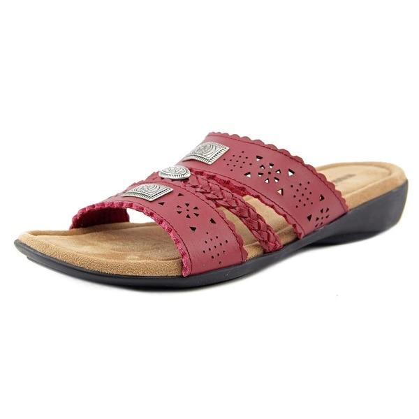Minnetonka Gayle Women Open Toe Leather Red Slides Sandal