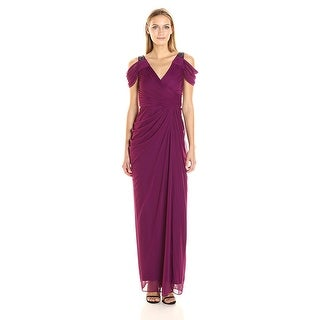 Adrianna Papell Beaded Cold Shoulder Evening Gown Dress - 14