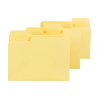 Smead 1/3 Cut Colored Super Tab File Folder, Letter, 11 L x 8-1/2 W in, 3/4 in Expansion, Yellow, Pack of 100