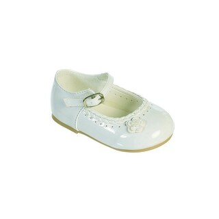 Little Girls Ivory Braided Edging Flower Patent Leather Dress Shoes