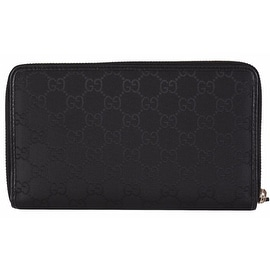 Gucci 321117 XL Black Nylon GG Guccissima Zip Around Travel Wallet Clutch