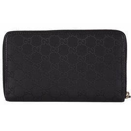New Gucci 321117 XL Black Nylon GG Guccissima Zip Around Travel Wallet Clutch