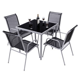 Costway 5 PCS Bistro Set Garden Set of Chairs and Table Outdoor Patio Furniture - sliver +black