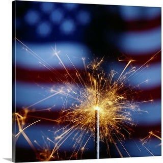 """""""Sparkler with American Flag"""" Canvas Wall Art"""