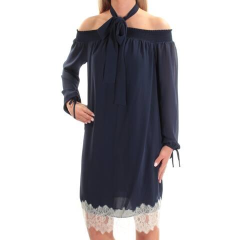 MICHAEL KORS Womens Navy Long Sleeve Knee Length Shift Dress Size XS