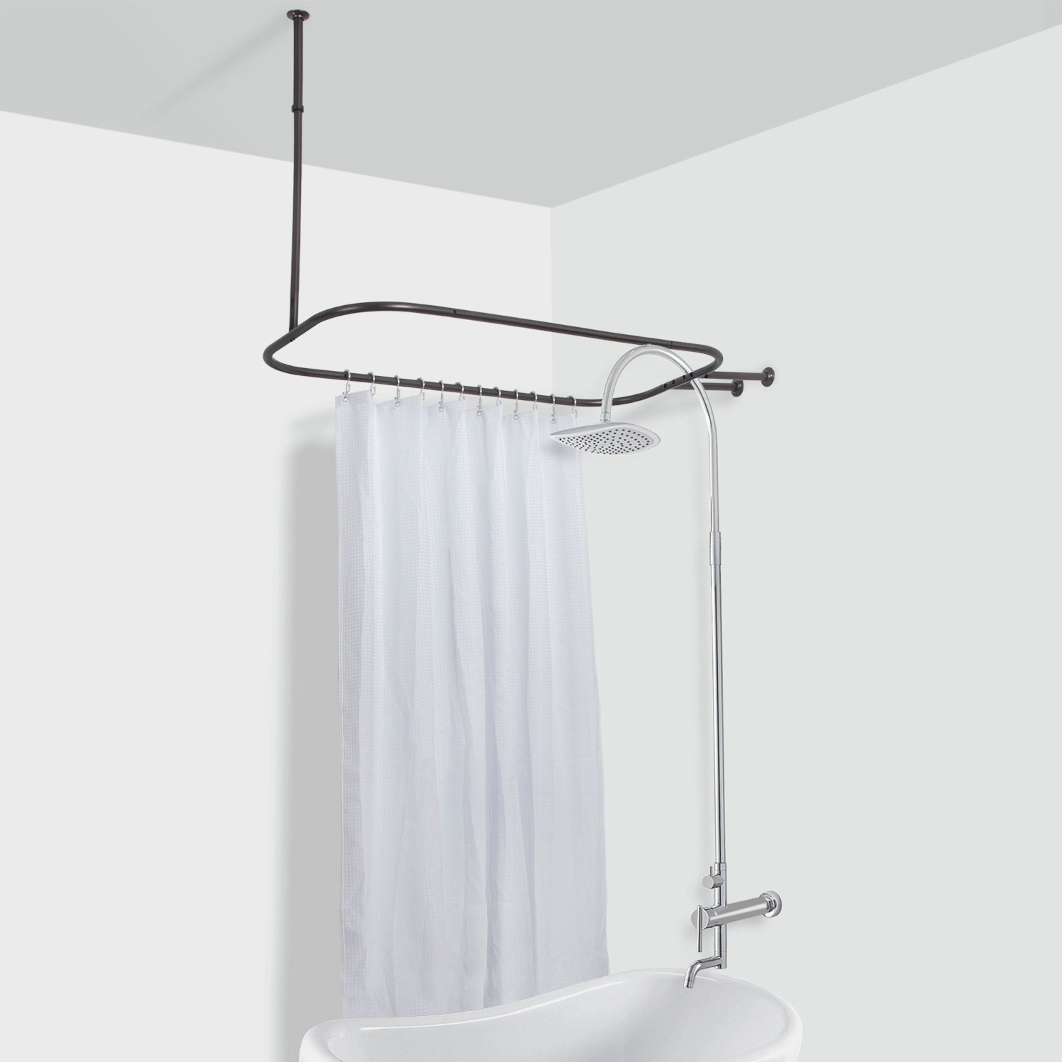 Picture of: Shop Rustproof Hoop Shower Rod For Clawfoot Tub On Sale Overstock 20012486