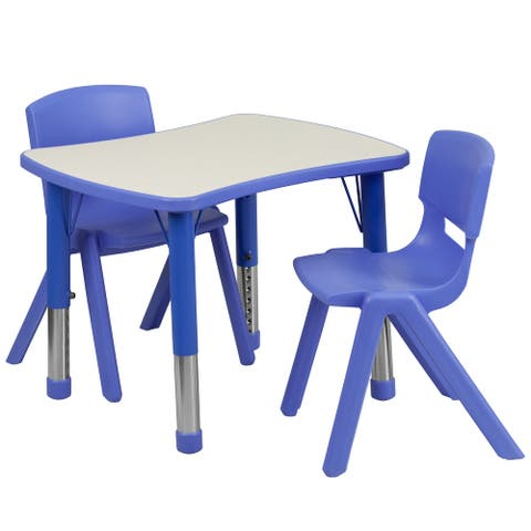 """21.875""""W x 26.625""""L Rectangle Plastic Activity Table Set with 2 Chairs"""