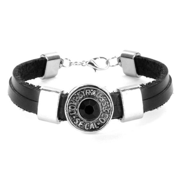 Black Rhinestone Rivet Leather Bracelet (8 mm) - 8 in