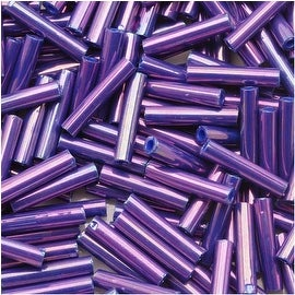 Toho Bugle Tube Beads Size 3 2x9mm Higher Metallic Grape 10 Grams