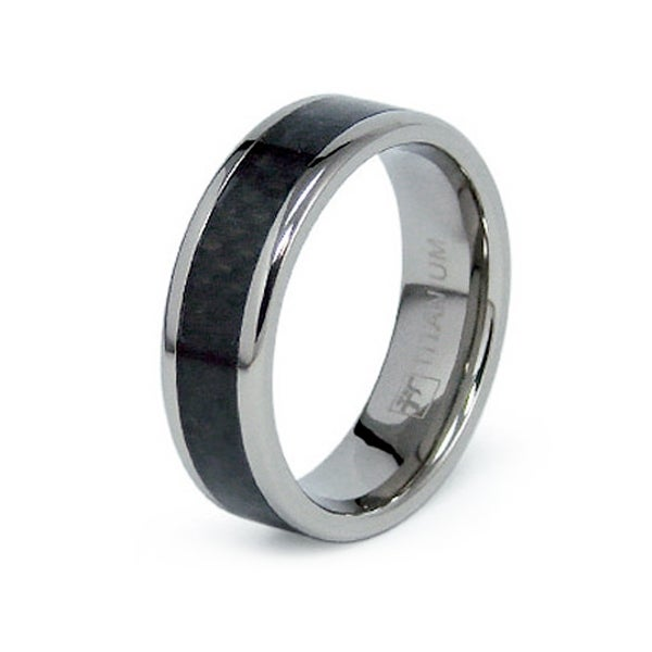 7mm Flat Titanium Ring with Black Carbon Fiber Inlay (Sizes 8-12)