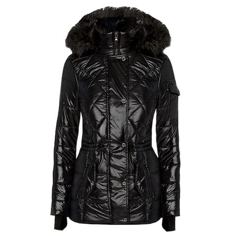 Michael Kors Womens Active Poly fill Black Drawstring Waist Puffer Coat with Hood
